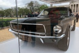 """This week, the original 1968 Mustang from the action flick """"Bullitt"""" (1968) with Steve McQueen is on display on the National Mall marking National Mustang Day on Tuesday and staying on display through Sunday as part of a weeklong event, sponsored by theHistoric Vehicle Association. (WTOP/John Aaron)"""
