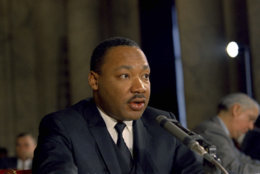 Dr. Martin Luther King civil rights leader testifying before the Senate Government Operations subcommittee, December 15, 1966. (AP Photo)