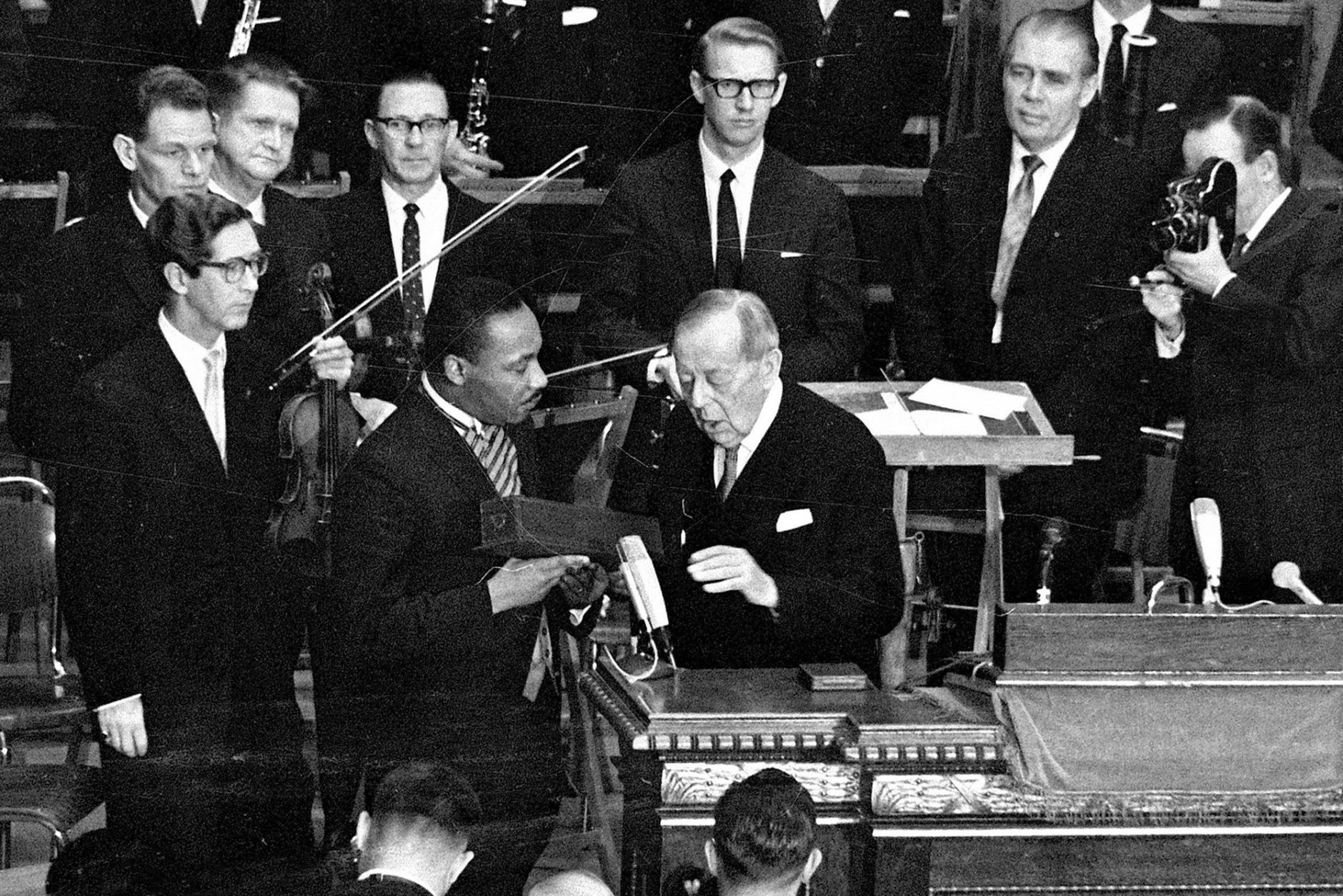 FILE - In this Dec. 10, 1964 file photo, U.S. civil rights leader the Rev. Dr. Martin Luther King receives the Nobel Peace Prize from Gunnar Jahn, chairman of the Nobel Committee, in Oslo, Norway. (AP Photo, File)