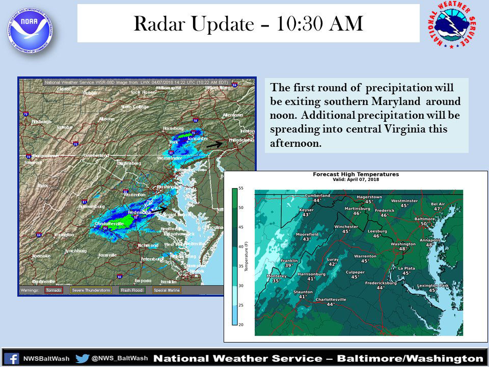 The first round of rain/snow is over, but a second round will be hitting parts of Virginia on Saturday afternoon. (Courtesy National Weather Service)