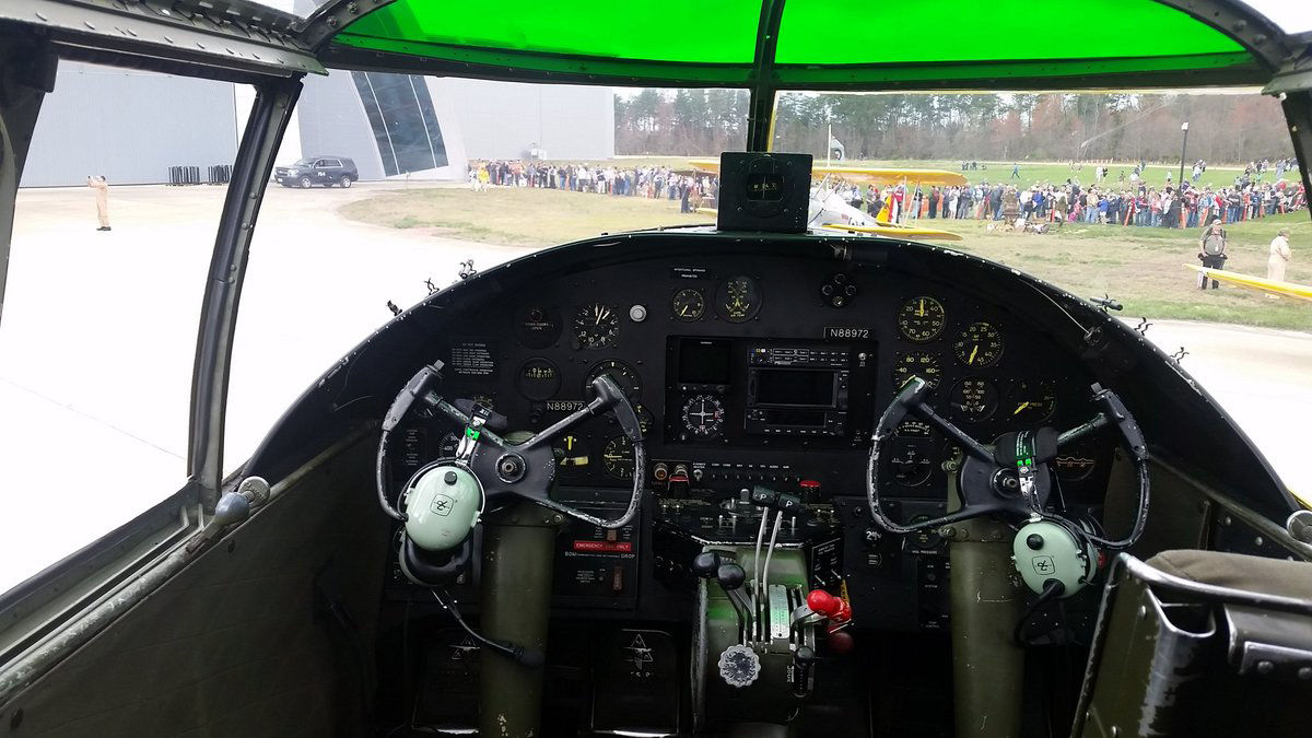 A look inside the cockpit of the B-25 Mitchell. (WTOP/Kathy Stewart)