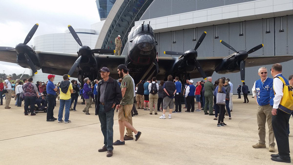 The Lancaster on display is one of only two Lancasters still left that are considered airworthy. (WTOP/Kathy Stewart)