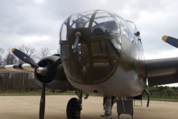 A look at the nose of the B-25 Mitchell. (WTOP/Kathy Stewart)