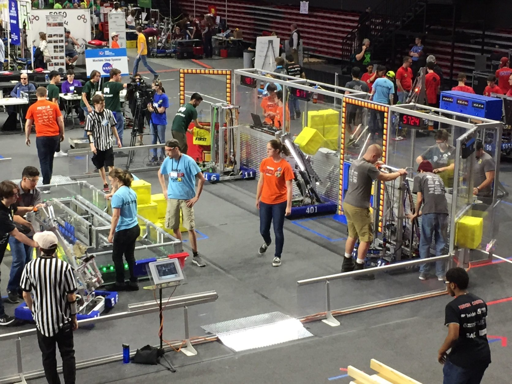 The robotics team setting up their robot for the University of Maryland District Championship. (Courtesy of Amy and Derrick Swaak)