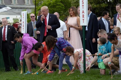 With a blow of whistle, Trump kicks off Easter Egg Roll