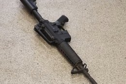 This photo provided by the Metro Nashville Police Department photo shows the rifle used in the deadly shooting at a Waffle House on Sunday, April 22, 2018, in the Antioch neighborhood of Nashville. (Metro Nashville Police Department via AP)