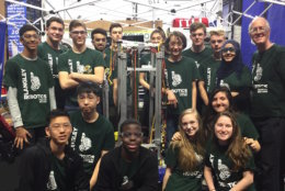 The Langley High School robotics team, pictured at the District Championship at the University of Maryland, will be going to the world championships in Detroit next week. (Courtesy of Amy and Derrick Swaak)