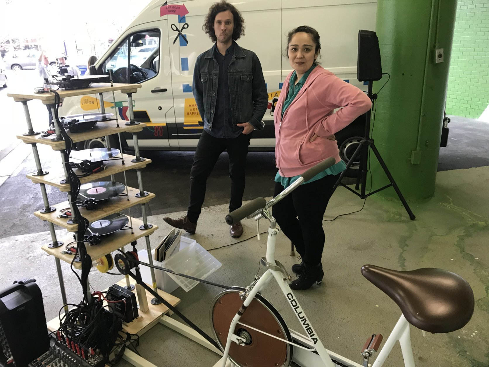 Artists Alex Braden and Emily Francisco created Bipedal Soundscapes — a bicycle-powered, five-tiered turntable. (WTOP/Neal Augenstein)