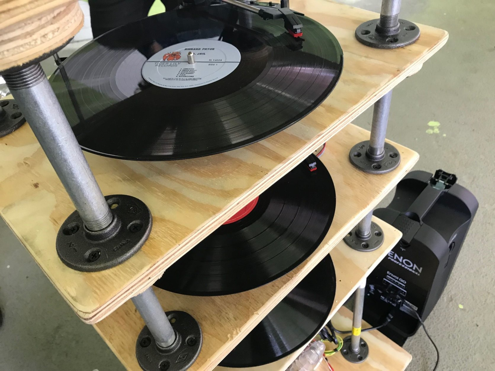 With five turntables playing records simultaneously, the results can be cacophonous. (WTOP/Neal Augenstein)