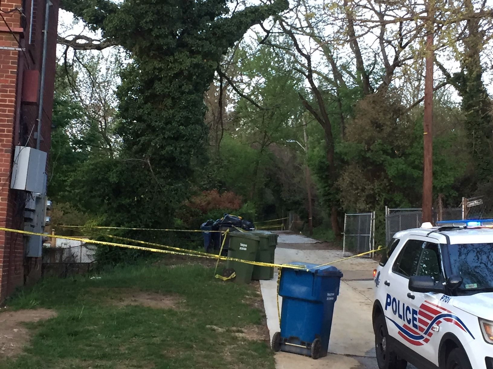 Police tape marks off the area where three sets of skeletal remains were found last month. (WTOP/John Domen)