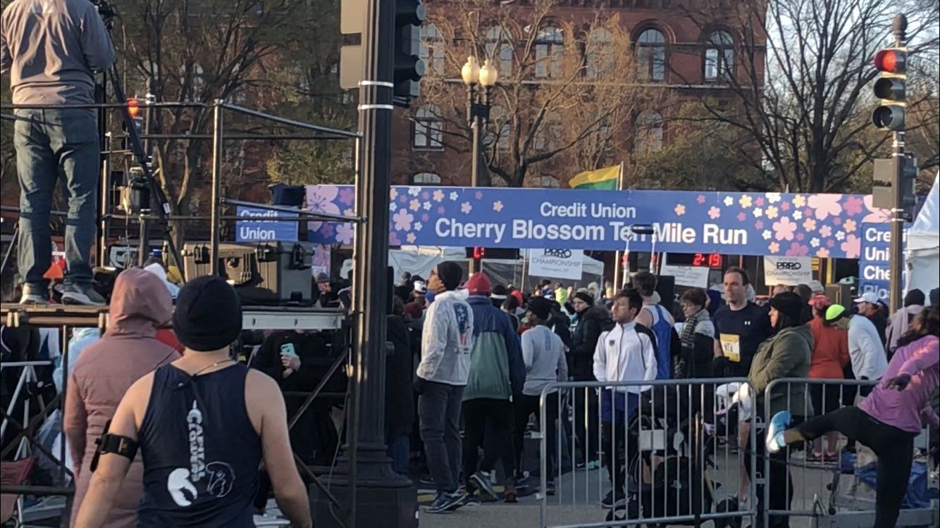 Crowds gather for the 2018 Credit Union Cherry Blossom Ten Mile Run. (WTOP/Melissa Howell)
