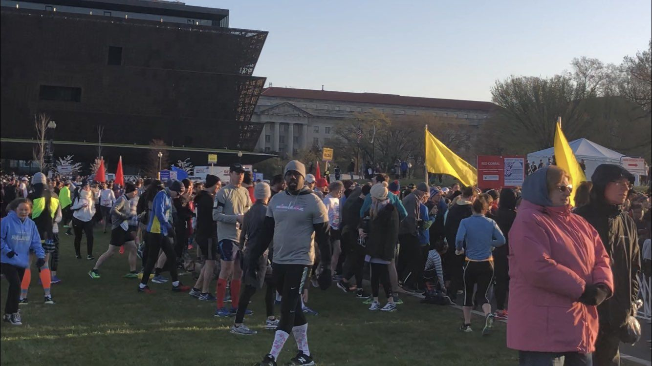 Crowds at the Credit Union Cherry Blossom Ten Mile Run. (WTOP/Melissa Howell)
