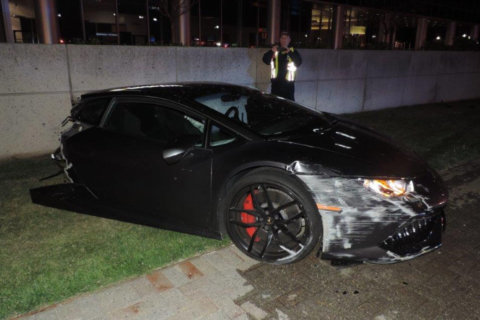 Officials: Lamborghini split in 2 in crash with light pole
