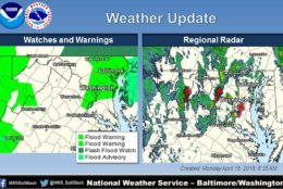 Flood watches and warnings updated by the National Weather Service Baltimore/Washington.