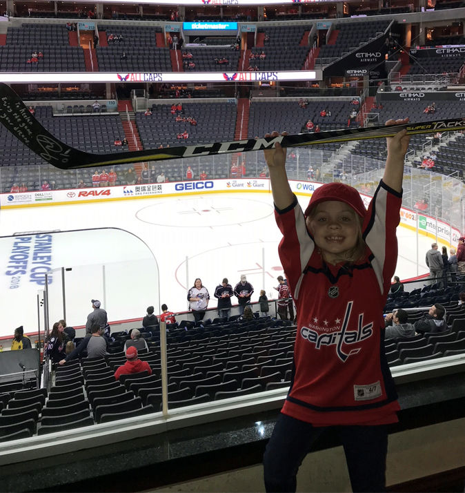 8af8f11ab9d Young Caps fan in viral  puck girl  video meets Ted Leonsis before Game 5