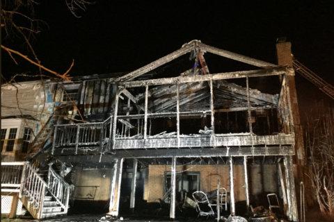 Fire engulfs house in Reston
