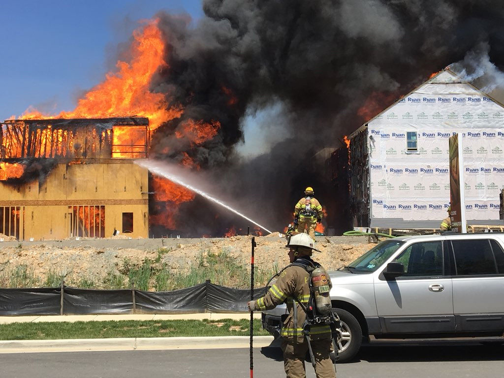 A large fire broke out at a residential construction site in Greenbelt, Maryland, consuming two rows of town houses and damaging a third row of occupied condominiums. (Courtesy Mark Brady/Prince George's County Fire and Rescue)