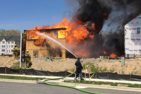 Massive fire engulfs row of town houses at Prince George's Co. construction site