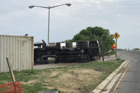 Tanker truck overturns in DC, spilling 500 gallons of fuel