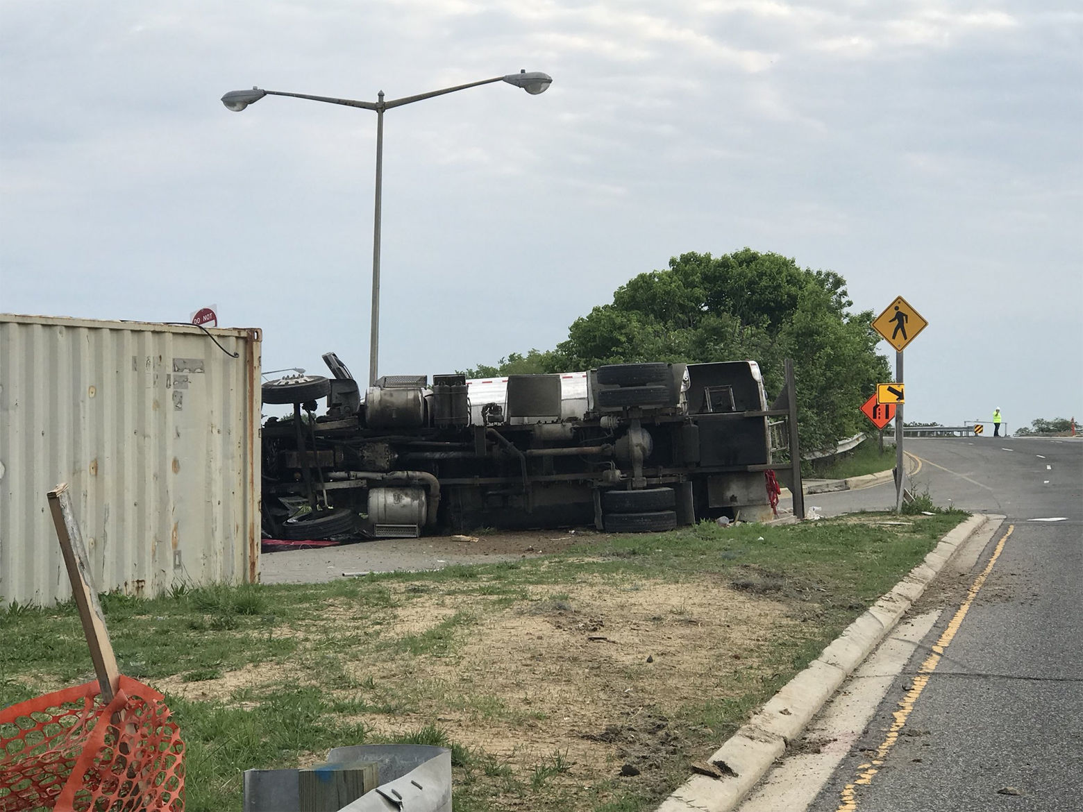 A tanker truck carrying 1700 gallons of diesel fuel overturned on South Capitol Street in Southeast D.C. during the Friday morning commute, spilling fuel into the roadway. (Courtesy D.C. Fire and EMS)