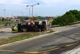 The truck overturned in the 2300 block of South Capitol Street south of the Douglass Bridge at about 7 a.m. Friday. (Courtesy D.C. Fire and EMS)