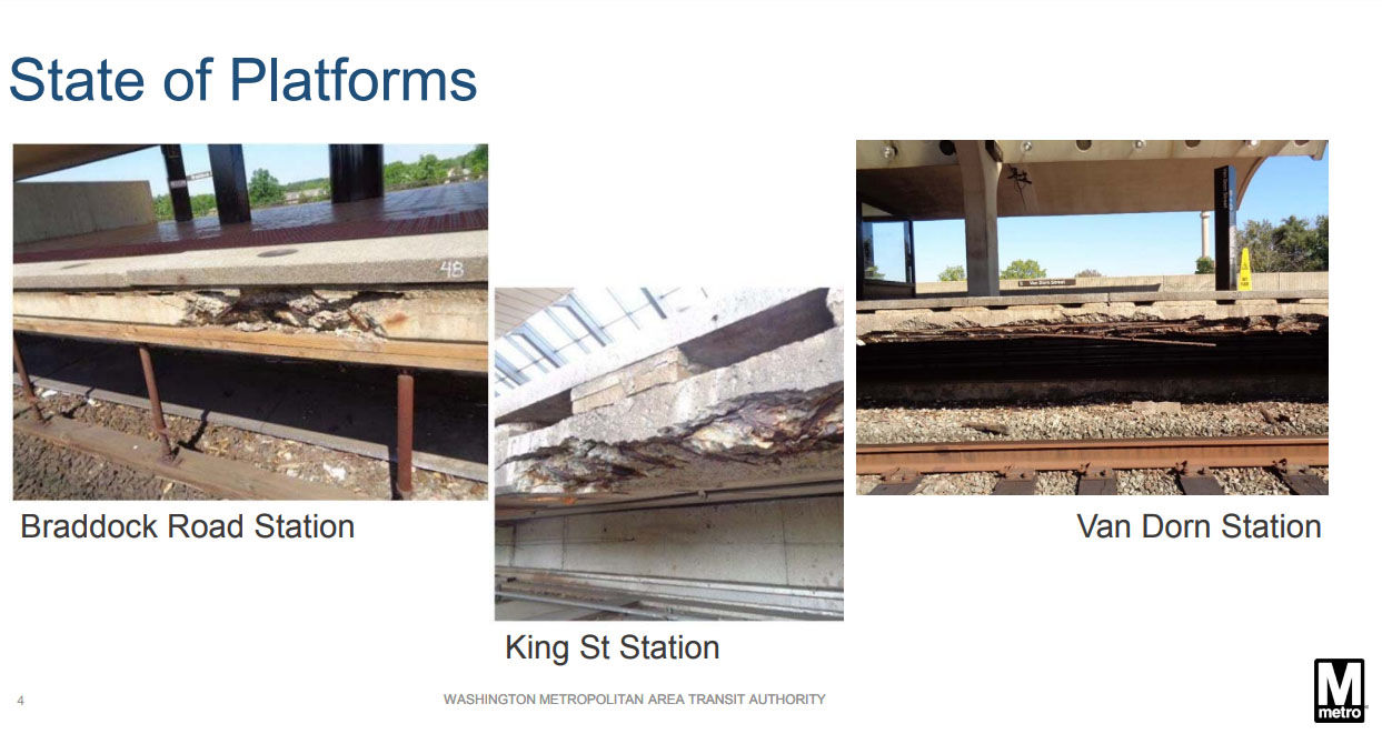 Photographs included in the documents show crumbling conditions on the platforms at the Braddock Road, King Street and Van Dorn stations. (Courtesy WMATA)