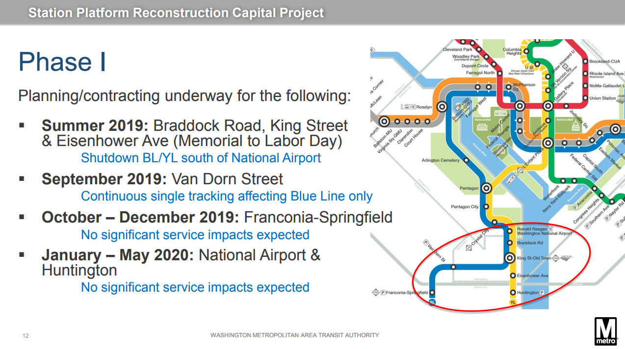 The proposed timeline and projected impacts. (Courtesy WMATA)