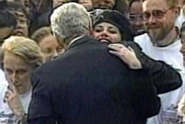 FILE - In this Nov. 6, 1996 file image taken from video, Monica Lewinsky embraces President Clinton as he greeted well-wishers at a White House lawn party in Washington Nov. 6, 1996. The long-running drama of Hillary Clinton's marriage _ her husband's infidelity and how she dealt with it _ is back as a subtext in this year's presidential race.   (AP Photo/APTV)