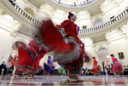 Ballet Folklorico dancers from Rio Grande City perform in the Rotunda of the Texas State Capitol, Wednesday, April 19, 2017, in Austin, Texas. (AP Photo/Eric Gay)
