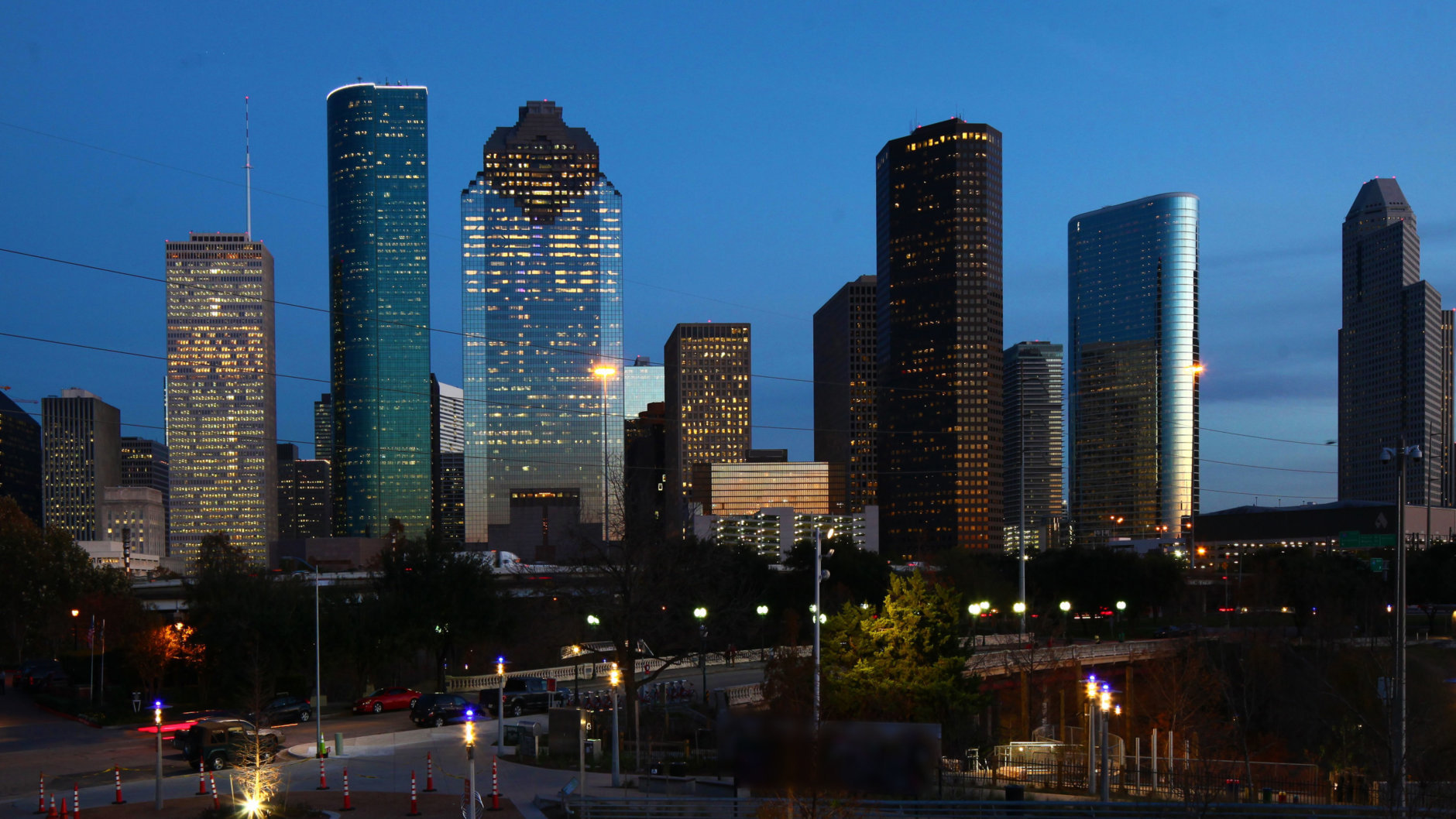 A View of Houston, Texas city center at night