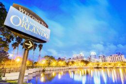 Downtown Orlando. City skyline. Located in Lake Eola Park, Orlando, Florida, USA.