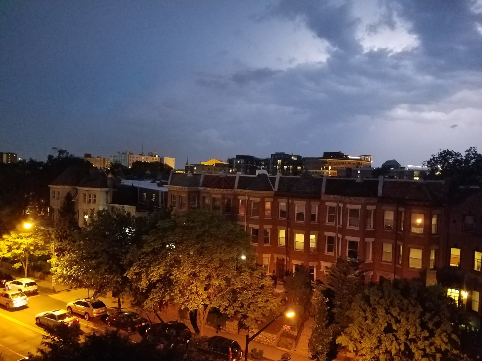 Thunder and lightning over Columbia Heights in the District. (WTOP/Will Vitka)