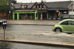 Aftermath of the storm in Bethesda, at the corner of Wisconsin and Woodmont. (Courtesy @jennielynnshine via Twitter)