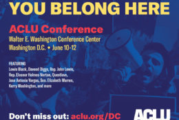 The ACLU also submitted alternative ads Monday, including this one that erases the words from the background protest signs. (Courtesy ACLU of D.C.)