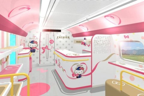 All aboard this adorable Hello Kitty bullet train departing from stations in Japan