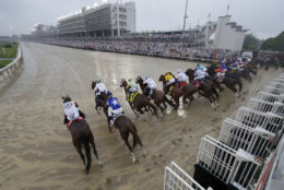 Horses leave the starting gate during the 144th running of the Kentucky Derby horse race at Churchill Downs Saturday, May 5, 2018, in Louisville, Ky. (AP Photo/John Minchillo)