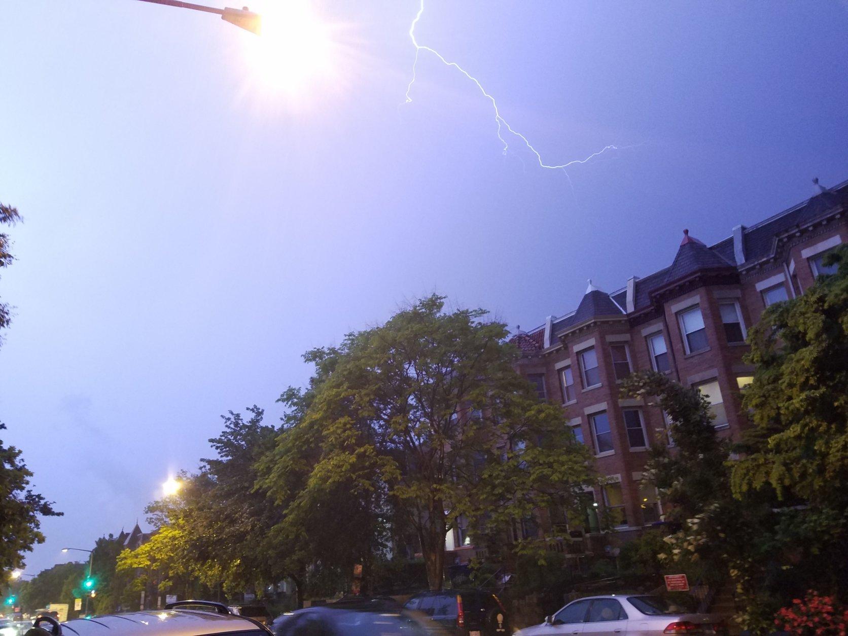 Lightning strikes in D.C.'s Columbia Heights neighborhood. (WTOP/Will Vitka)