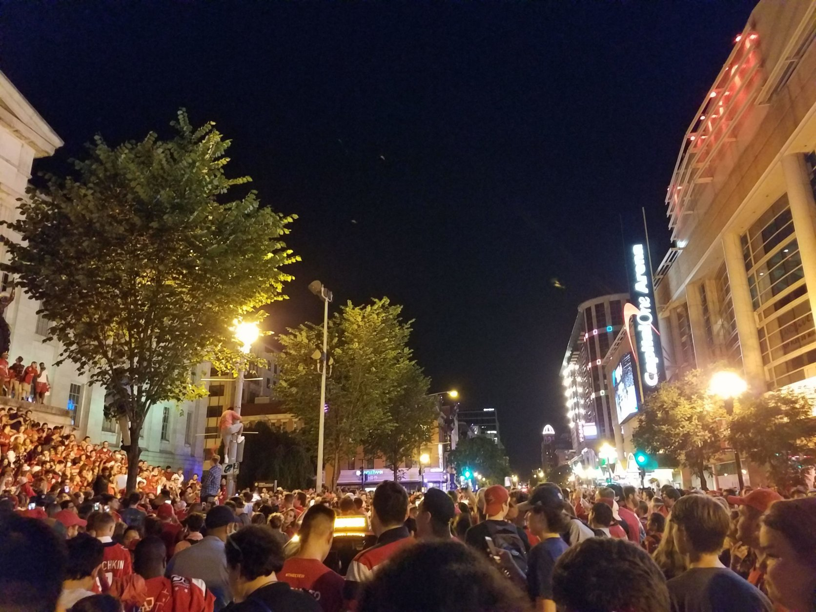 Fans gather in Washington, D.C. after the Washington Capitals beat the Tampa Bay Lightning 4-0 in Game 7 on Wednesday, May 23, 2018. (WTOP/Lisa Weiner)
