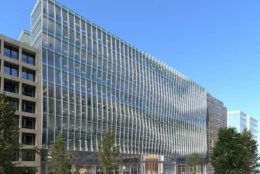 Developer Skanska's new 2121 Penn office building will open this fall. (Rendering courtesy of Skanska)