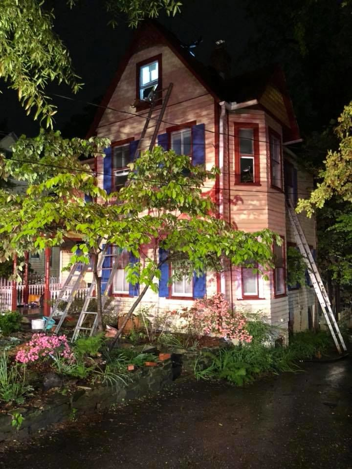 Neighbors reported hearing a loud boom a few minutes before the roof of a quaint house caught on fire, according to Piringer. (Courtesy Takoma Park Volunteer Fire Department)
