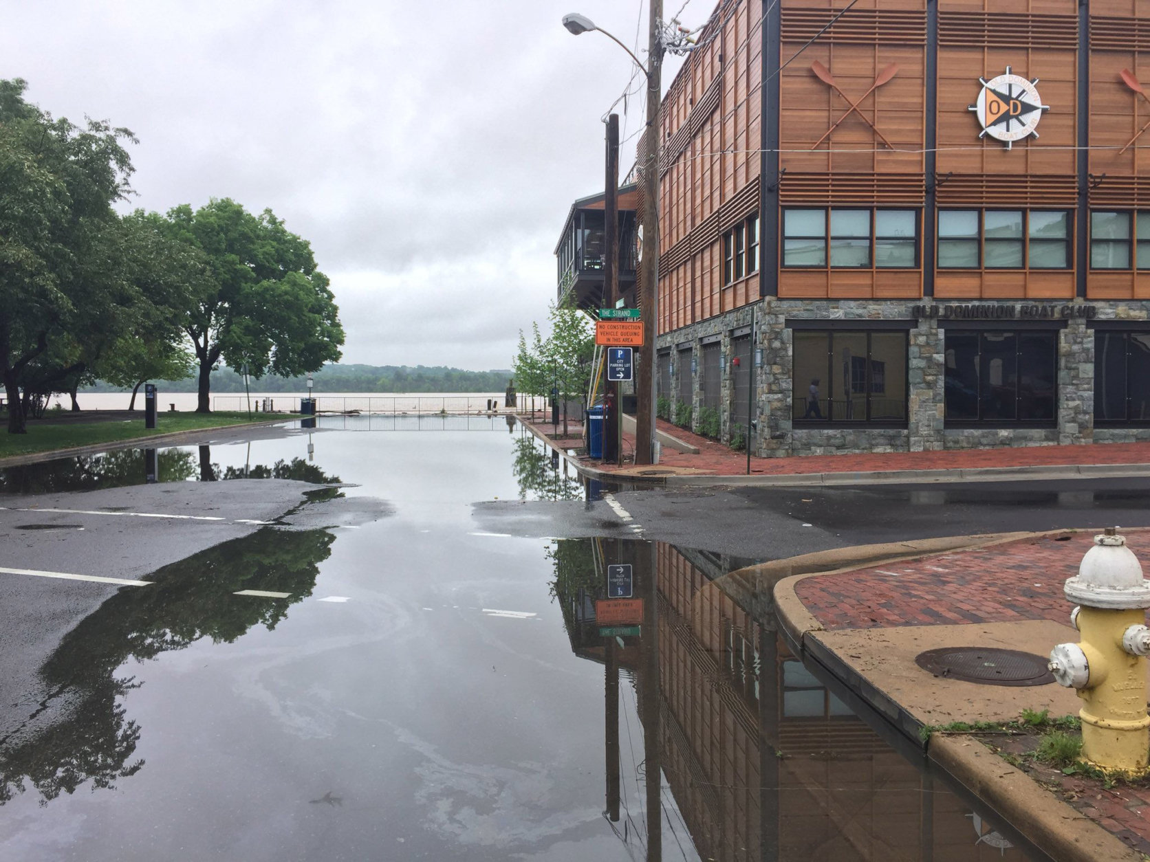 What one Alexandria resident called fairly standard tidal floooding in Old Town Thursday, May 17, 2018. (WTOP/Kristi King)