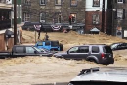 Howard County Executive Calvin Ball will announce plan to deal with future flooding in Ellicott City. On May 27, 2018, heavy rain caused devastating flooding along lower Main Street. (Libby Solomon/The Baltimore Sun via AP)