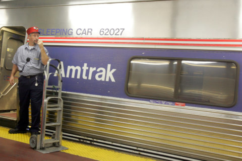 Amtrak trains moving through Baltimore