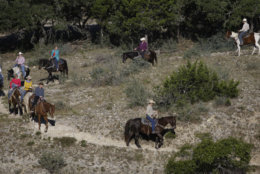 Visitors ride horses at the Dixie Dude Ranch near Bandera, Texas, Friday, Oct. 24, 2008.  (AP Photo/Eric Gay)