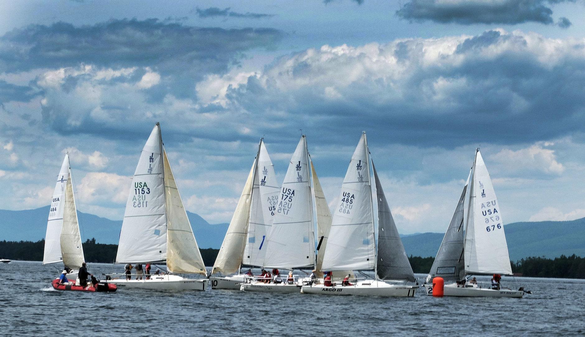 Sailboats participate in a regatta on Lake Winnipesaukee, Saturday, June 4, 2016, in Gilford, N.H. (AP Photo/Jim Cole)