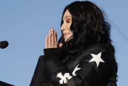 Cher speaks during a women's march rally Sunday, Jan. 21, 2018, in Las Vegas. (AP Photo/John Locher)