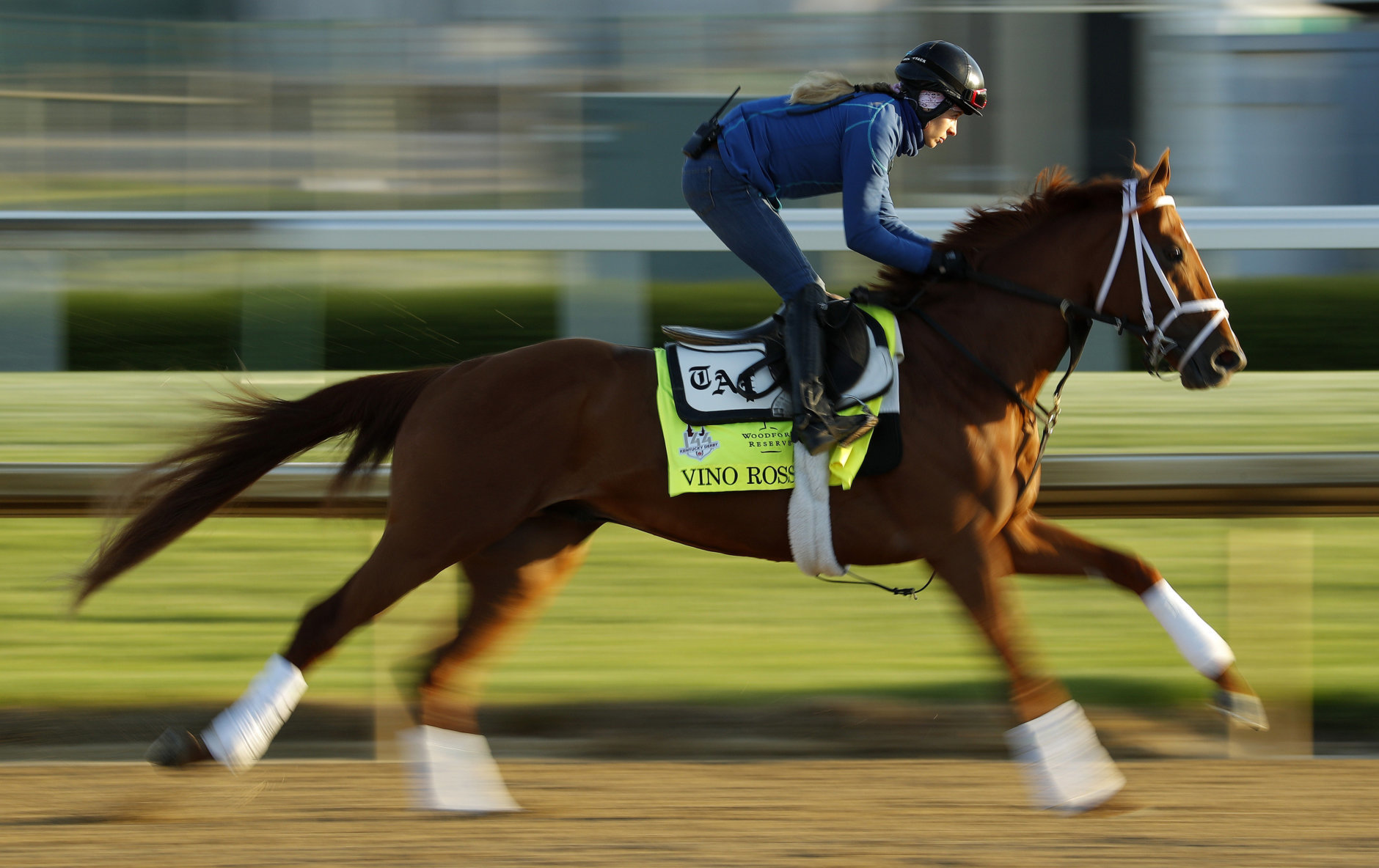 Kentucky Derby hopeful Vino Rosso trains at Churchill Downs Monday, April 30, 2018, in Louisville, Ky. The 144th running of the Kentucky Derby is scheduled for Saturday, May 5. (AP Photo/Charlie Riedel)