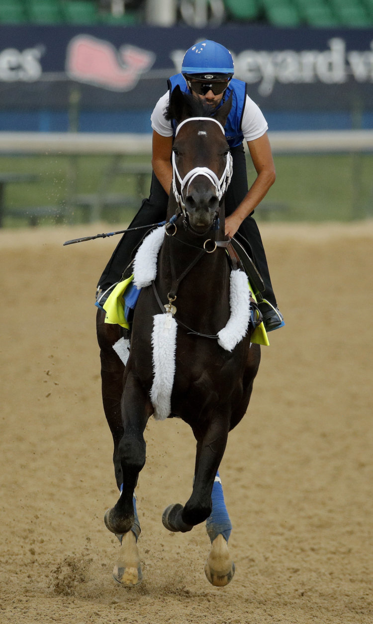 Kentucky Derby entrant Enticed runs during a morning workout at Churchill Downs Wednesday, May 2, 2018, in Louisville, Ky. The 144th running of the Kentucky Derby is scheduled for Saturday, May 5. (AP Photo/Charlie Riedel)