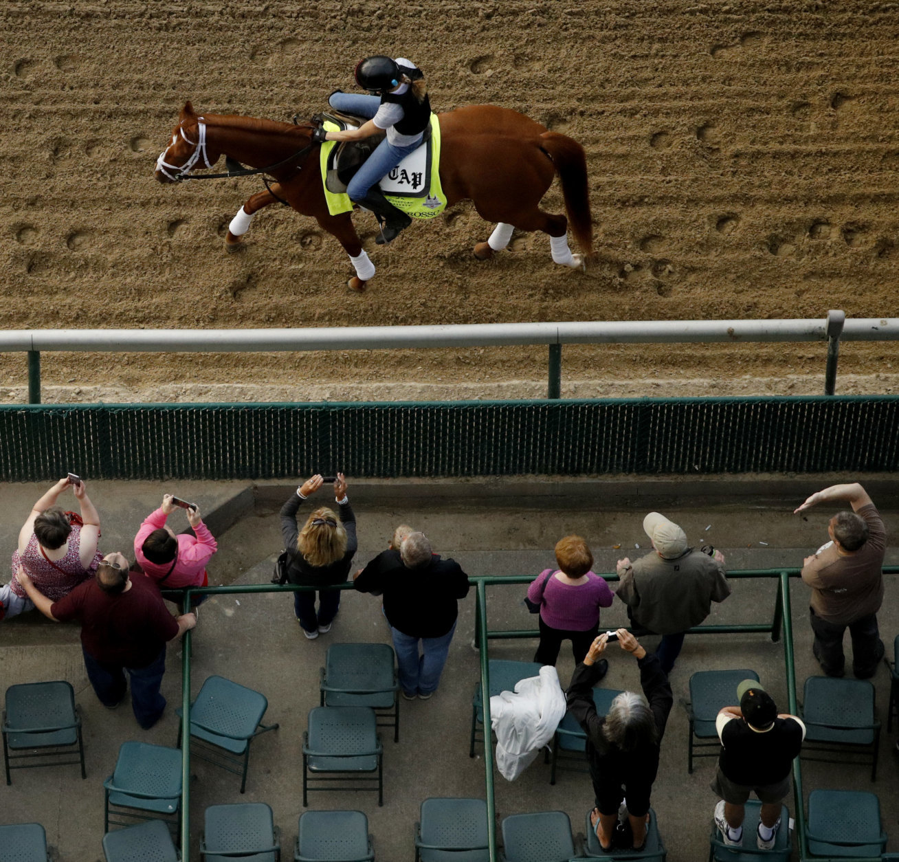 Kentucky Derby entrant Vino Rosso trains during a morning workout at Churchill Downs Wednesday, May 2, 2018, in Louisville, Ky. The 144th running of the Kentucky Derby is scheduled for Saturday, May 5. (AP Photo/Charlie Riedel)