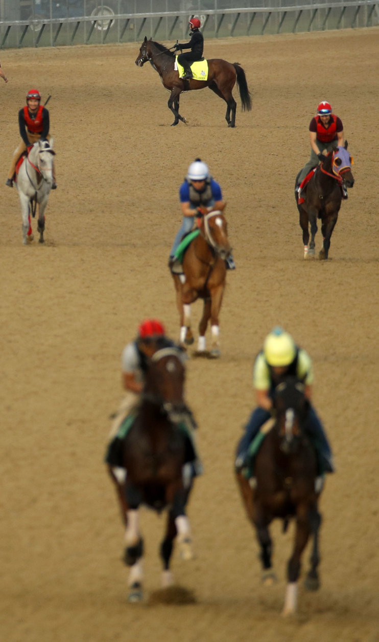 Kentucky Derby entrant Mendelssohn, top, walks off the track after a morning workout at Churchill Downs Thursday, May 3, 2018, in Louisville, Ky. The 144th running of the Kentucky Derby is scheduled for Saturday, May 5. (AP Photo/Charlie Riedel)